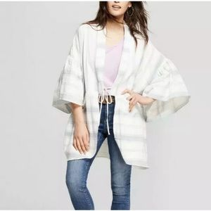 Universal Thread OS Flounce Sleeve Striped Kimono